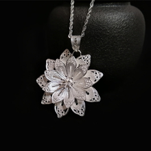 999 Sterling Silver Flower Pendant Necklace Women Accessories Charms Pendants Chakra Jewelry Trendy Luxury Handmade