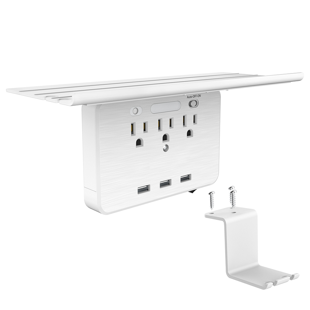 Switch Socket Rack 3 Electrical Outlet Extenders 3 USB Charging Ports Removable Built-In Shelf Rotating Wall Outlet US standard
