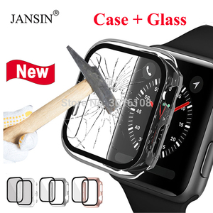Tempered Glass+cover For Apple Watch cas