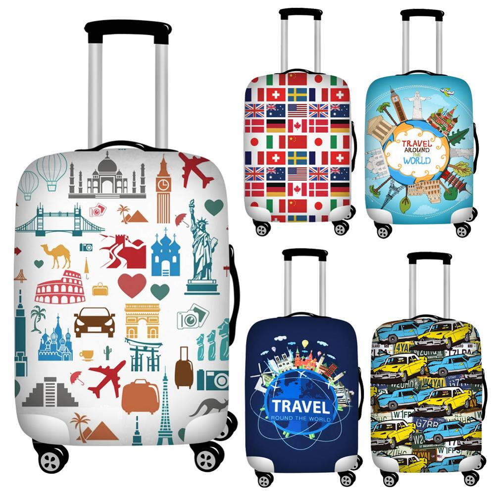 FORUDESIGNS Stylish Travel Luggage Protective Dust Covers Personalized 18''-32'' Suitcase Protective Dust Cover Trolley Covers