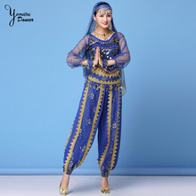 Dance Performance Costume Set High Quality Festival Dancing Costume Clothes Red Belly Dance Stage Performance Long Sleeve Tops