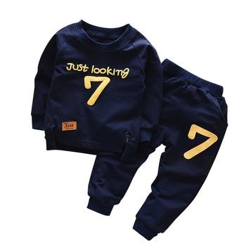 Spring Autumn Children Boys Girsls Clothing Cotton Long Sleeve Letter Sets Kids Clothes Tracksuit Baby T-Shirt Pants 2 Pcs/Suit 1