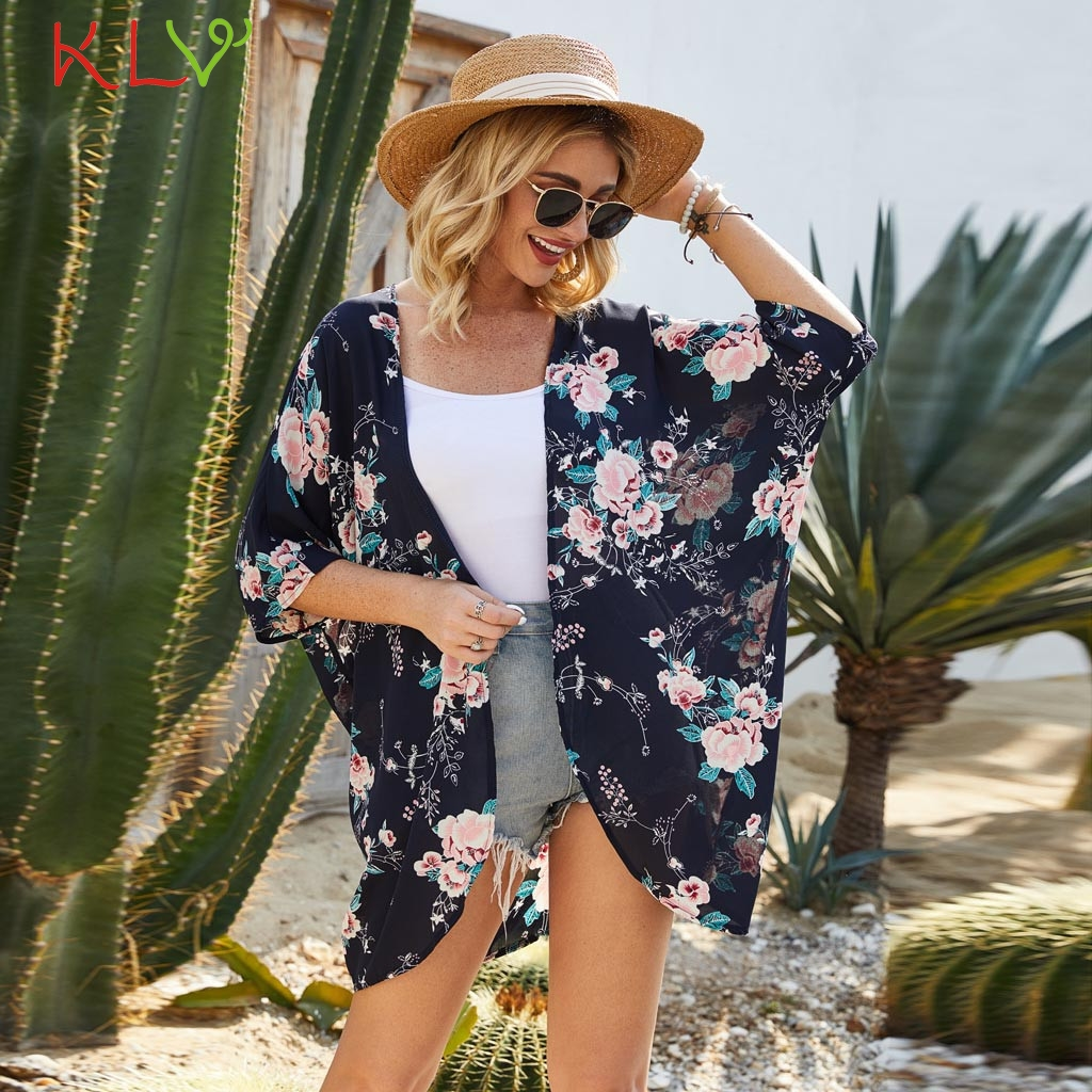 Custom Pattern Print Open Front Kimono Cardigan Loose Beach Cover Up Dress