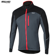 ARSUXEO Men Winter Cycling Jacket Thermal Fleece MTB Bike Jacket Windproof Waterproof Bicycle Sofeshell Coat Warm Reflective 17D цена
