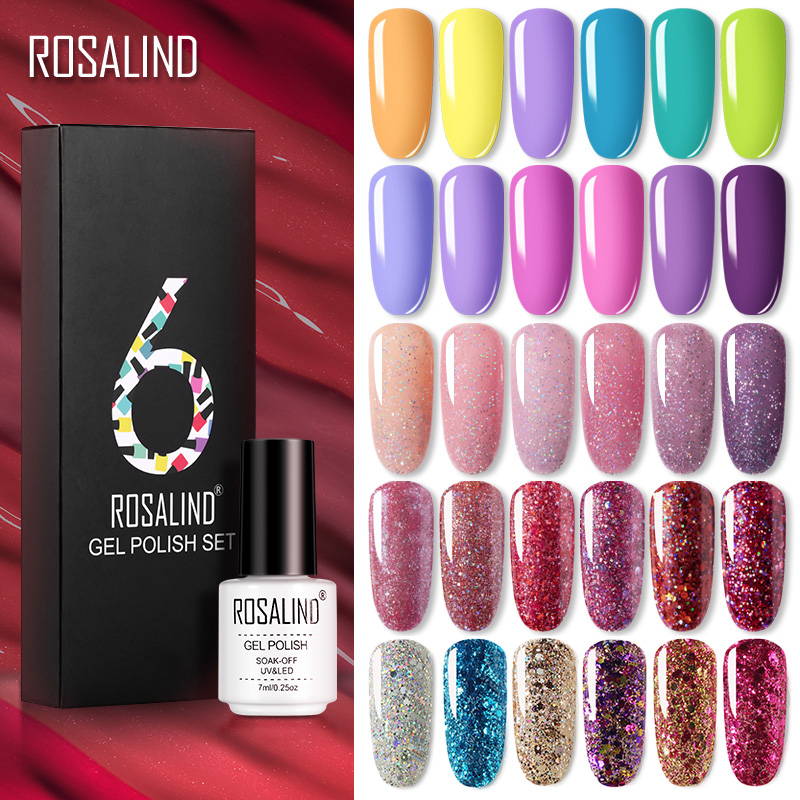 ROSALIND Gel Nail Polish Set 14 Color Series UV Lacquer Varnish Nail Set For Art Desgin Manicure Top And Base