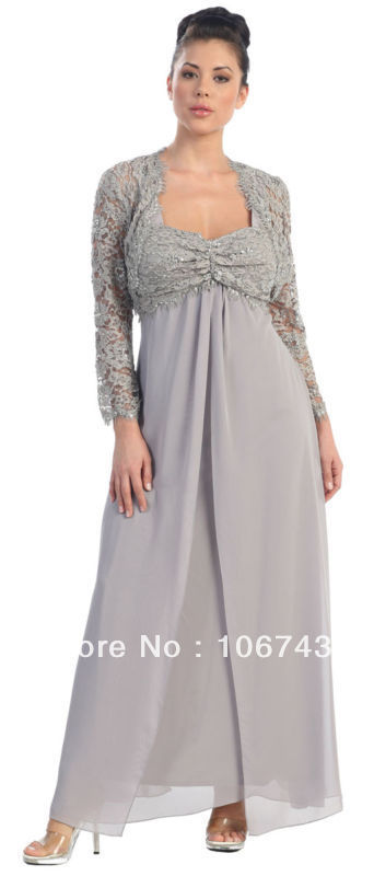 Free Shipping 2016 PLUS SIZE Vestidos Formales Long Sleeve Chiffon Bridal Gown Mother Of The Bride Dresses With Lace Jacket