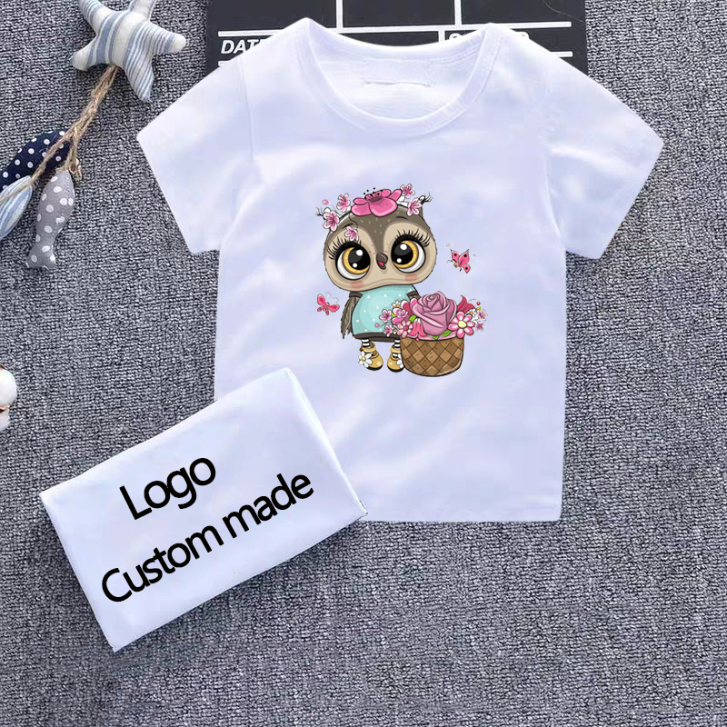 Owl Print Girls T Shirt Children Clothing Boys Cotton Baby Short Sleeve T-shirts Kids Boy Girl Casual Cute T-shirt 2-8Y Shirts