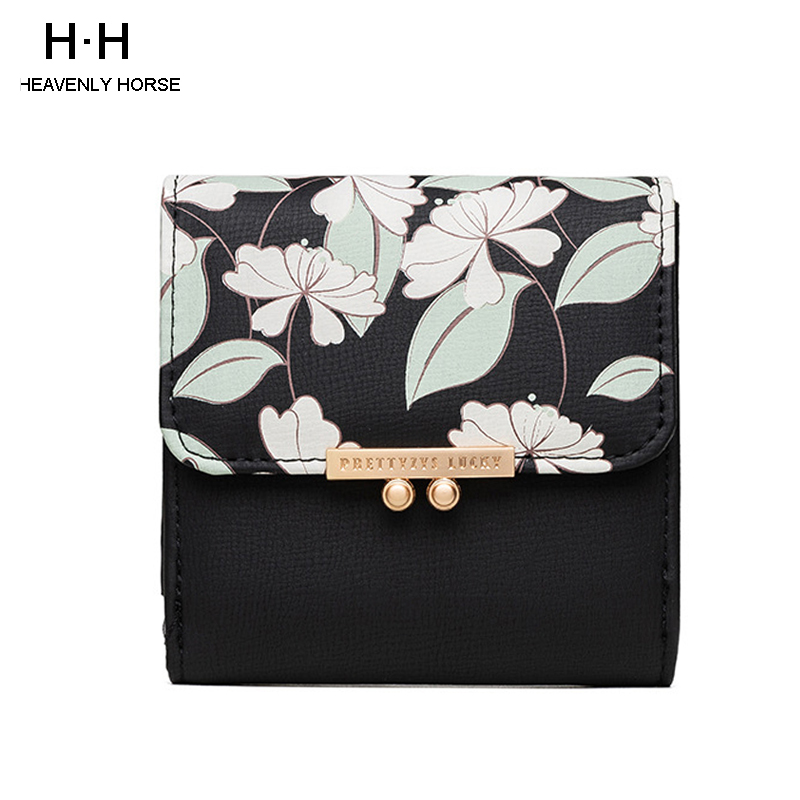 2019 New Arrival Small Fresh Printed Women Short Wallet Sweet Lady PU Girl Purch Coin Wallet Card Package