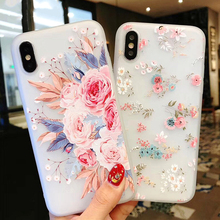 Luxury 3D Flower Silicon Phone Case For iPhone 7 X 6 6S 8 Plus XS Max XR Rose Emboss Floral Soft TPU Shockproof Cover Girl