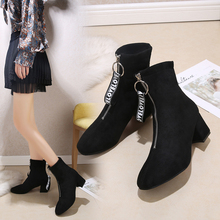 купить 2019 new top quality flock leather boots women high heels ankle boots for women round toe autumn winter shoes дешево