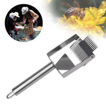 Pszczelarstwo Uncapping Fork Honey Bee 17 igła podwójna głowica Honeycomb ula skrobak narzędzia dla pszczelarz dostaw tanie i dobre opinie CN (pochodzenie) UF12-4 Double-Head Uncapping Fork Stainless Steel Beekeeping Tool Beekeeping Supplies Honey Comb Cut