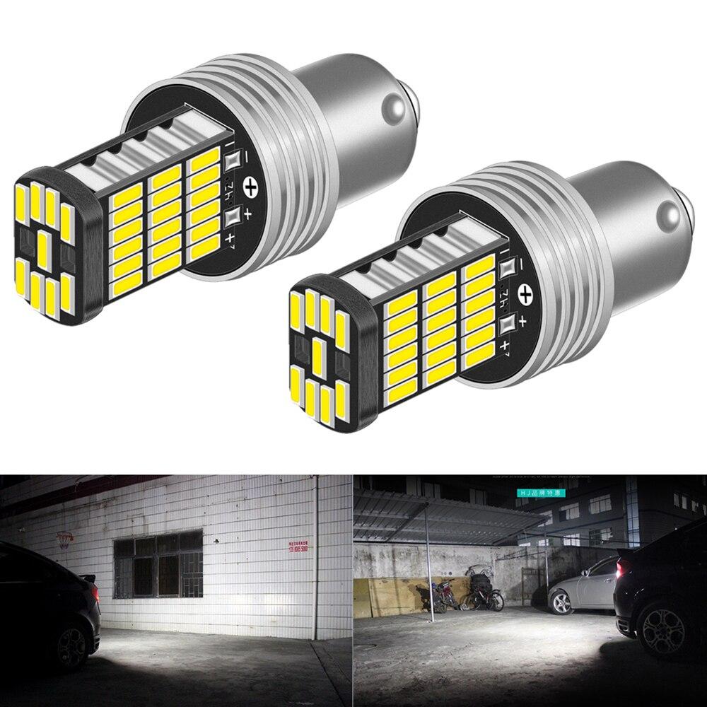 2pcs P21W 1156 BA15S LED Bulbs Car Lights Turn Signal Reverse Brake Light R5W 4014 LEDs 12V DC Automobiles Lamp DRL For Skoda