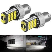 2pcs P21W 1156 BA15S LED 전구 자동차 조명 차례 신호 역방향 브레이크 라이트 R5W 4014 LED 12V DC 자동차 램프 DRL Skoda