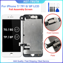 Pantalla LCD táctil 3D para móvil, montaje de digitalizador, piezas de repuesto, cámara frontal y altavoz, para iPhone 7, 7 Plus, 8, 8Plus