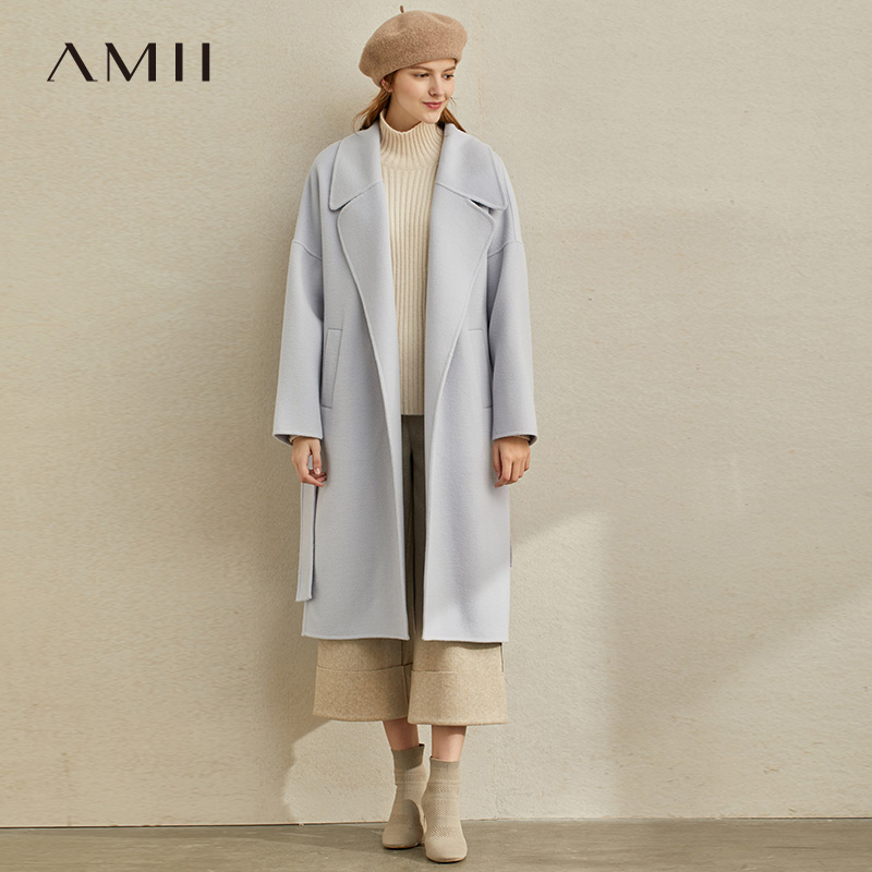 Amii Minimalist Winter Woolen Coat Women Fashion Solid Loose Lapel Belt Female Long Jackets 11980094
