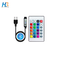 USB 5V RGB Bluetooth LED controller 24 key DC12V RGB IR Remote Controller for 3528/5050 LED strips Small RGB Controller Led Tape