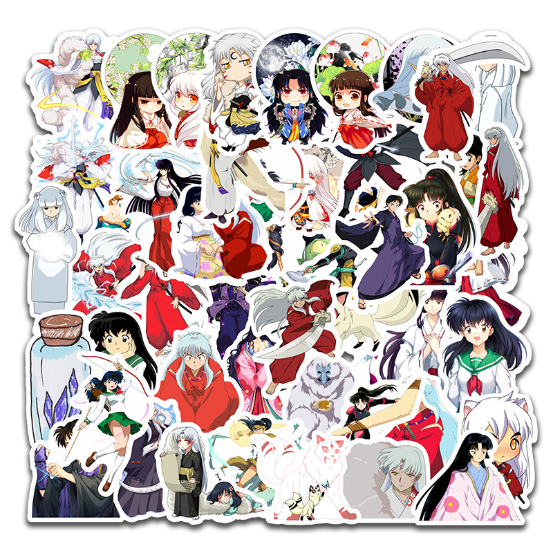 50pcs/set Japanese Anime Inuyasha Paper Sticker Decoration DIY Diary Stickers Scrapbooking Label Bicycle Skate Sticker Set