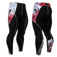 Nuevos Pantalones para hombres de compresión 3D Print Wolf Skull Skinny Leggings
