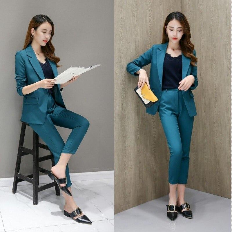 Business Women Pencil Pant Suits 2 Piece Sets Black Blazer+Pencil Pant Office Lady Notched Jacket Female Sets Two-piece Work Set 17