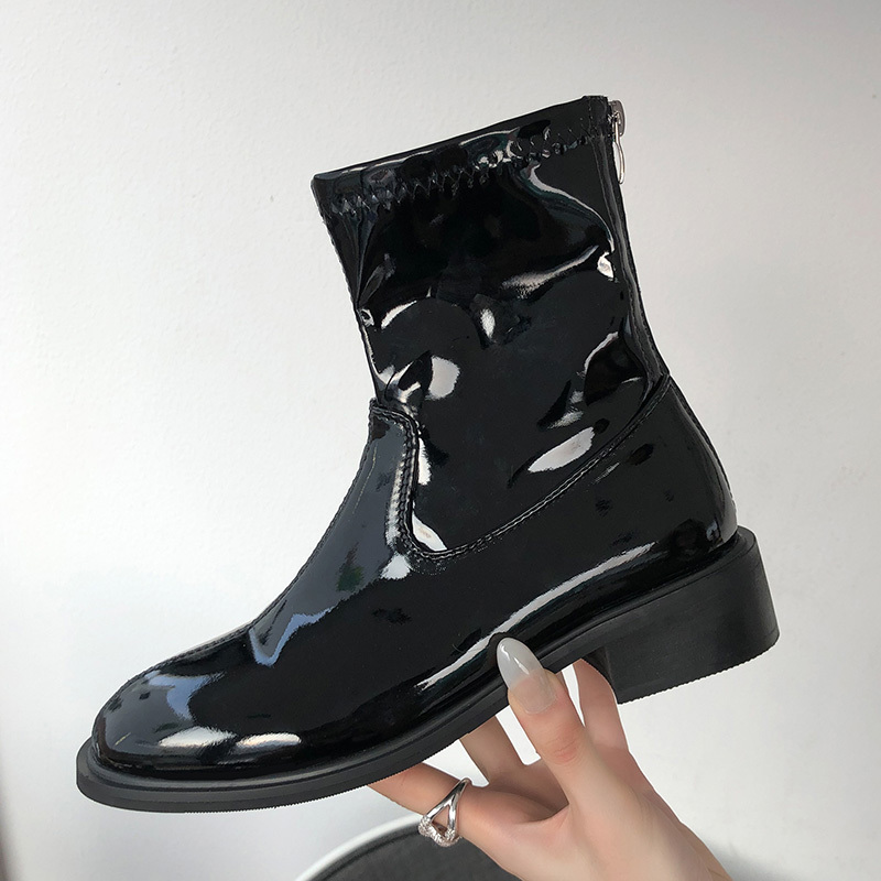 New Autumn Winter Women shoes Ladies Fashion Pointed toe High Heels Boots Women's Leather Ankle Boots Casual Motorcycle Sneaker