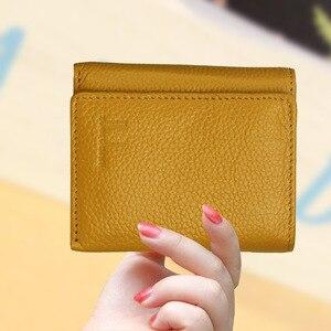 Image 4 - Di modo delle donne del cuoio genuino piccolo femminile portafoglio Tri fold borsa breve per sacchi di denaro con il supporto di carta della signora mini slim portafogli