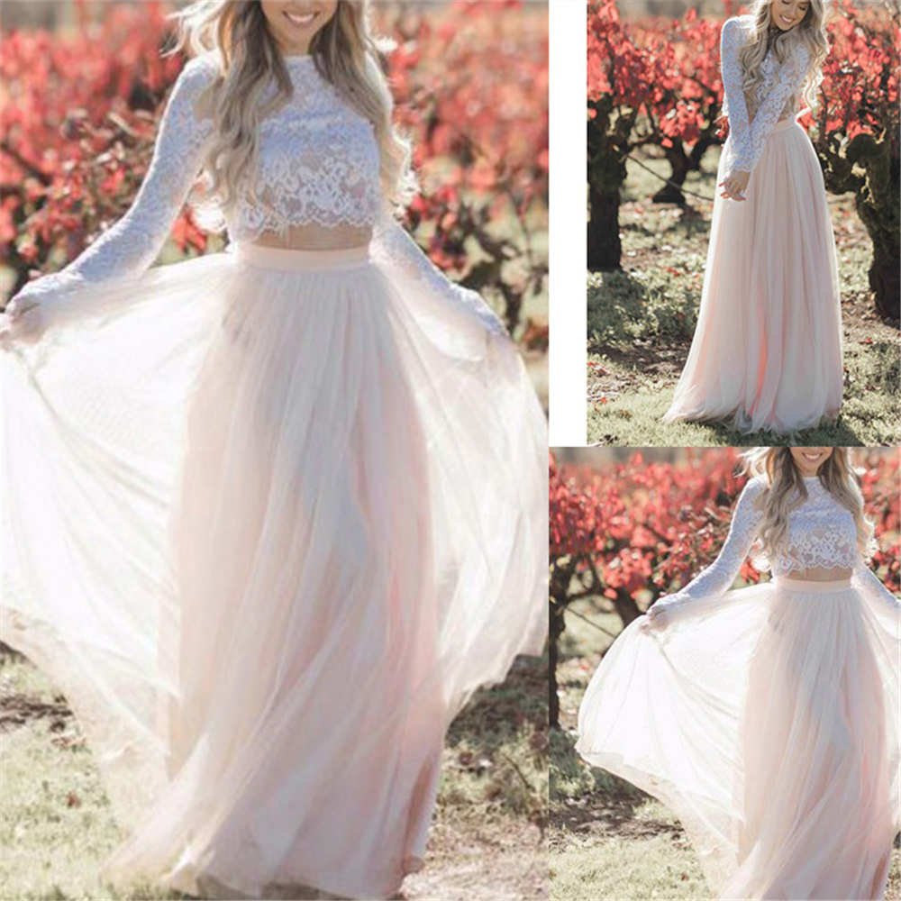 2019 White Formal Wedding Dresses Crop Top Two Pieces Ivory Long Sleeves Tulle And Lace Natural Waisted Beach Bridal Dresses
