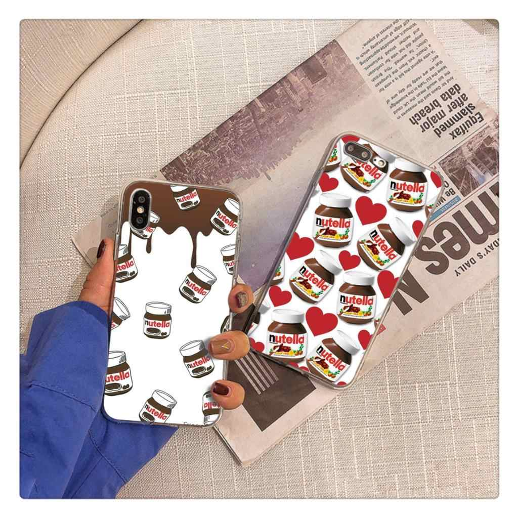 funny food Chocolate Nutella Printed Pizza French fries Phone Case for iPhone 6S 6plus 7 8 7 8Plus X Xs MAX 5 5S XR 11 pro max