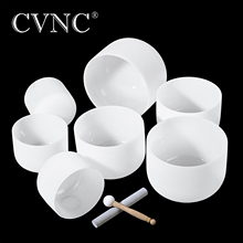 CVNC Chakra Tuned Set of 7pcs 8 -14  Note C D E F G A B Frosted Quartz 432Hz crystal singing bowl