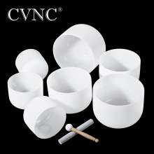 "CVNC Chakra Tuned Set of 7pcs 8"" -14"" Note C D E F G A B Frosted Quartz 432Hz crystal singing bowl(China)"