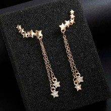 Модные длинные серьги женские пятиконечные звезды серьги кристалл серьги с камнями Корейский темперамент аксессуары