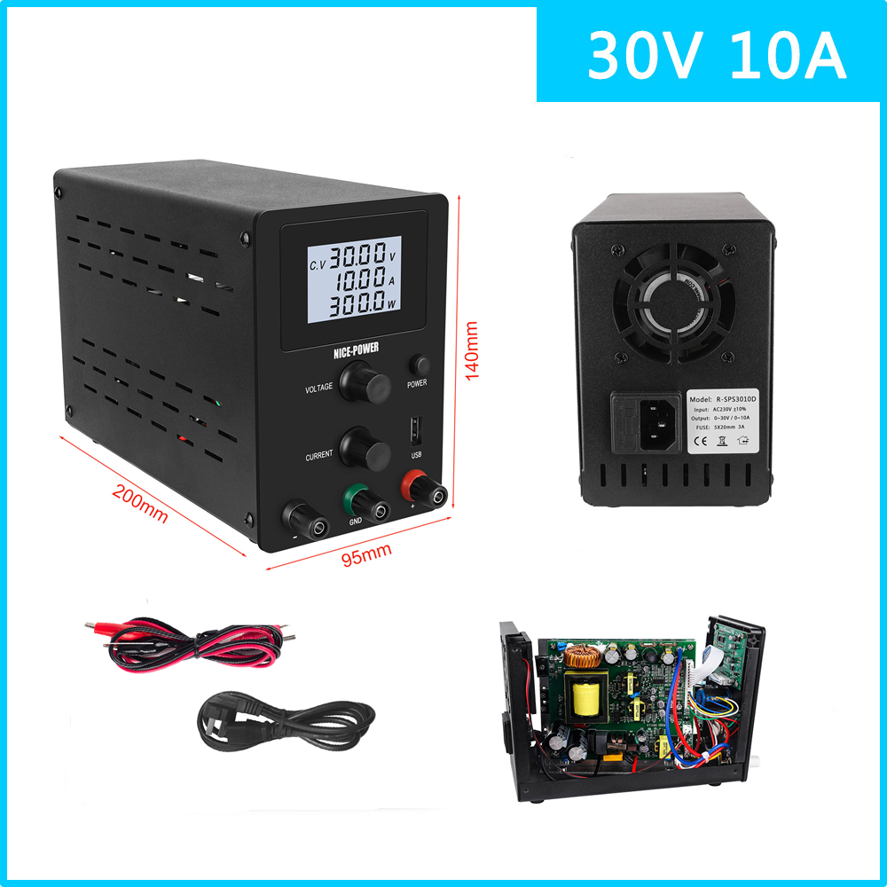 Hot 30V 10A DC Lab Variable Regulated Power Supply Adjustable Digital Voltage Stabilizer Laboratory Power Supplies Bench Source