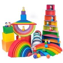 Blocs de construction Montessori arc-en-ciel pour enfants, jouets en bois de grande taille, empileur arc-en-ciel créatif, jouet éducatif