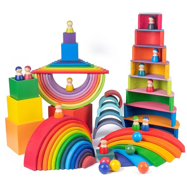 Baby Toys Large size Rainbow Building Blocks Wooden Toys For Kids Creative Rainbow Stacker Montessori Educational Toy ChildrenWooden Blocks