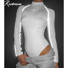 Rockmore Mutiple Letter Print Women Bodysuits Long Sleeve Fall Reflective Turtleneck Bodysuit Rompers Womens Jumpsuit Streetwear(China)