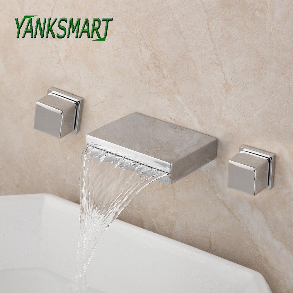 YANKSMART 3 Pcs Chrome Polished Bathroom Bathtub Faucets Waterfall Spout Dual Handles Faucet Wall Mounted Cold & Hot Mixer Tap
