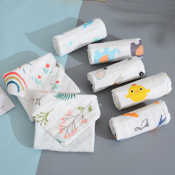 Cute Cartoon Printed Towels 6 Layers Gauze Combed Cotton Face Towel Breathable Absorb Baby Bath Towel 1Pcs Newborn Handkerchief six layers of gauze cotton square towel children towel fold a handkerchief plain printed saliva towel