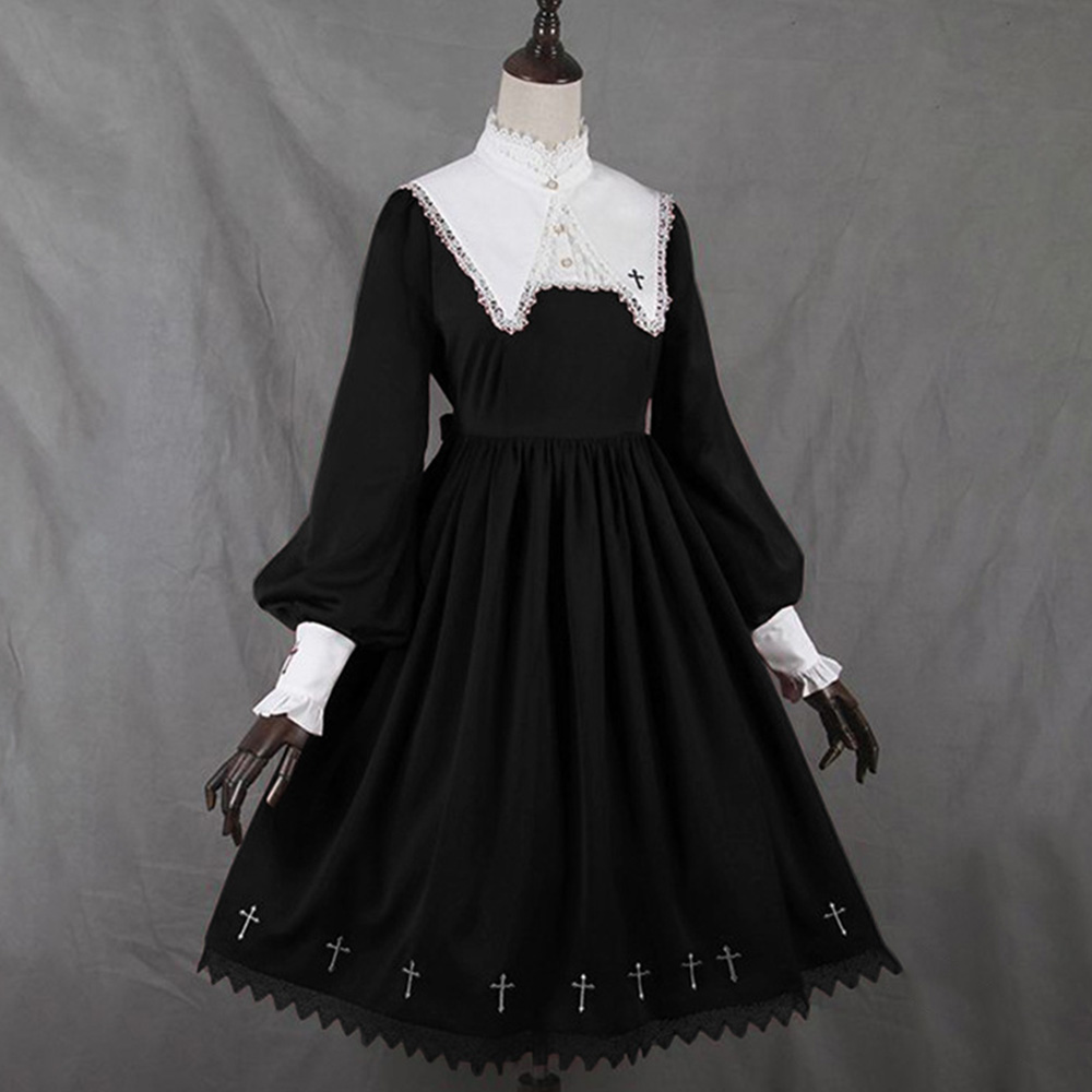 Rosetic Women Dress Medieval Retro Collar Lace Dress Puff Sleeve Large Swing Dress Lolita Style Girl Female Girl Gothic Dress