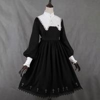 Rosetic Women Dress Medieval Retro Collar Lace Dress Puff Sleeve Large Swing Dress Lolita Style Girl Female Girl Gothic Dress
