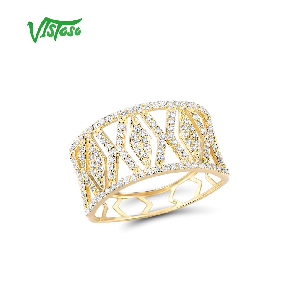 VISTOSO Gold Rings For Women Genuine 9K 375 Yellow Gold Ring Sparkling White CZ Promise Band Rings Anniversary Fine Jewelry