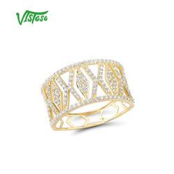Vistoso Gouden Ringen Voor Vrouwen Echt 9K 375 Geel Goud Ring Sparkling White Cz Promise Band Ringen Anniversary Fijne sieraden