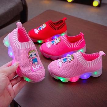 LOL Surprise Doll Spring and Autumn Princess Single Light Shoes Children Shoes Light Shoes LED Light Shoes Girls