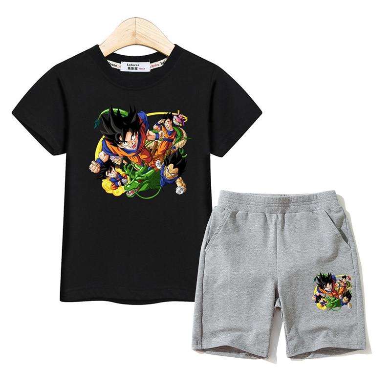 Anime Kids Summer Costumes Boy Short Sleeve Fashion Clothes T-shirt Pants 2pc Suit Kids Cartoon Print Outfits Boy Tops Pant Set 1