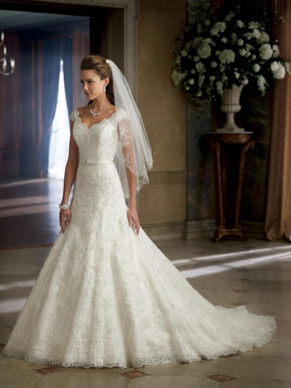 2014 Vestido Novia Mermaid Design V Neck Appliqued Wedding Bridal Dresses