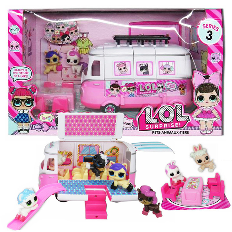 LOL Surprise Dolls Airplane Picnic Ice Cream Car Slide Handbag Villa Action Figure Lol Figura Doll Toys Set Girls Birthday Gifts