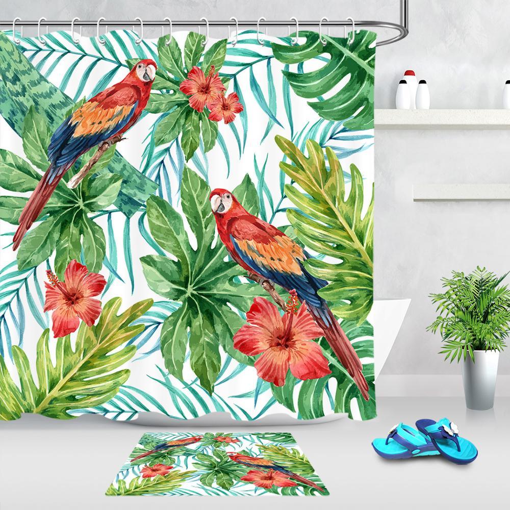 tropical green leaves flower bird parrot shower curtains fabric polyester waterproof bathroom shower curtain non slip door mat