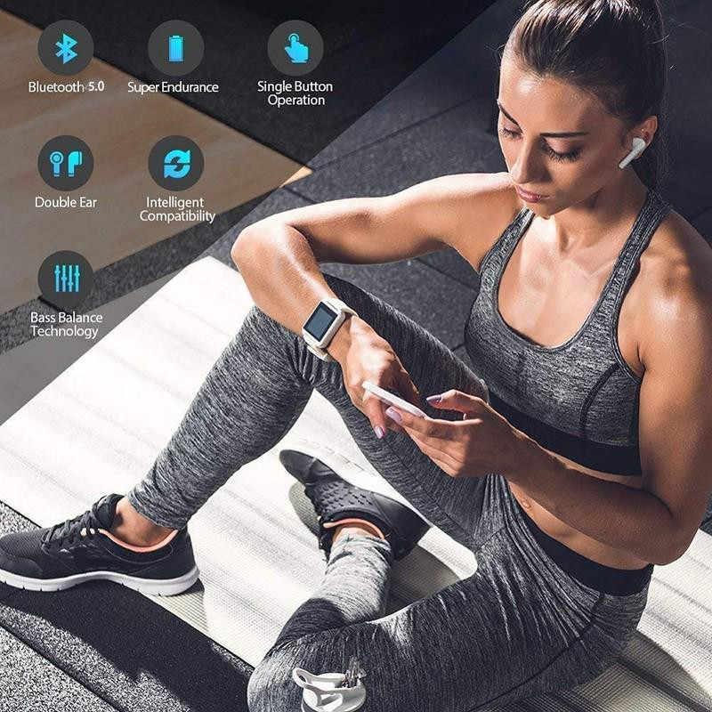 I7s TWS אלחוטי 3D Bluetooth ספורט אוזניות עם אוזניות אוזניות עבור Samsung Galaxy S10 S10e S9 S8 בתוספת הערה 9 8 A10 A20 A30