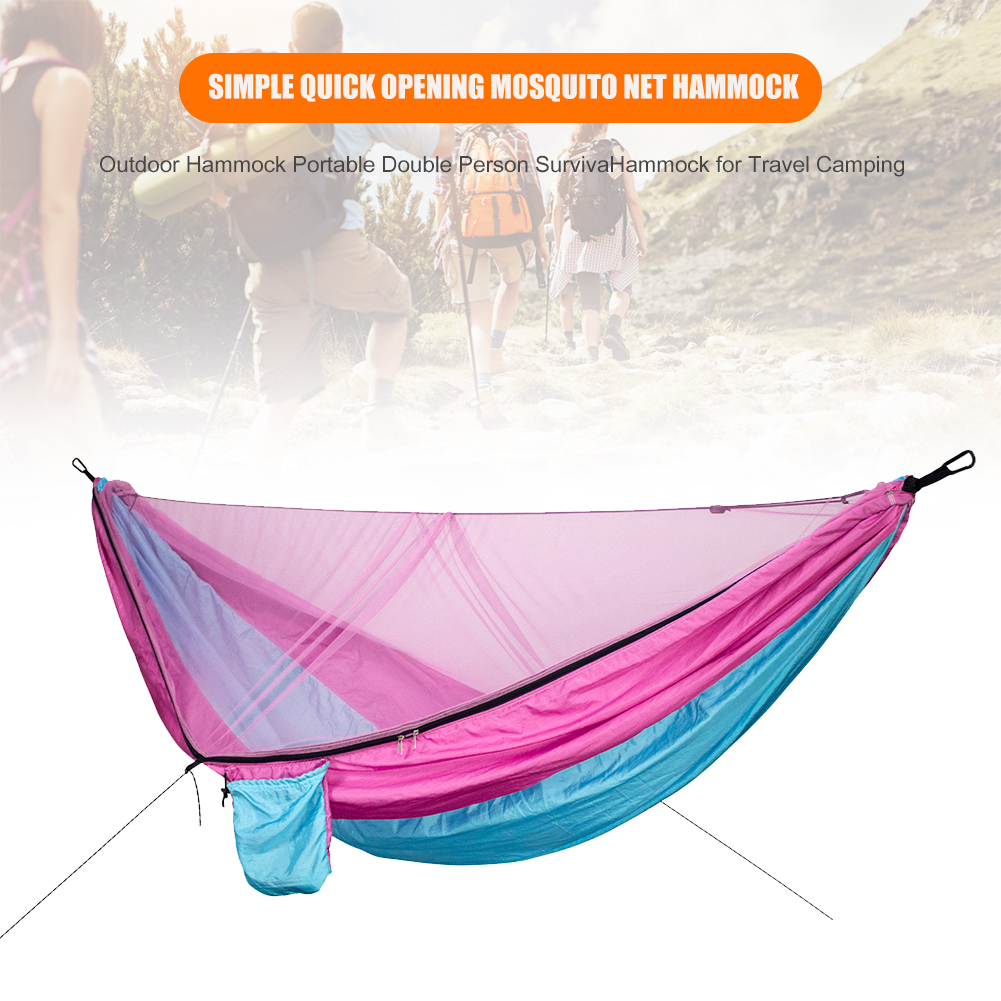For Outdoor Camping Hunting Nylon Sleeping Bed With Straps Portable Automatic Quick Opening Backpacking Survival Hammock