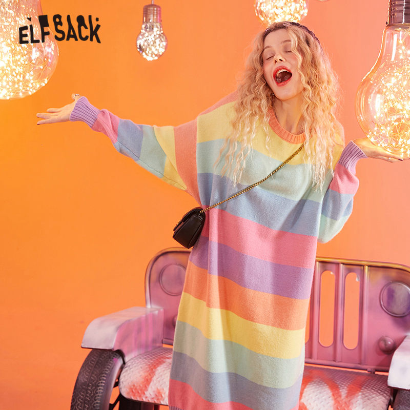 ELFSACK Colorful Rainbow Striped Korean Style Knit Dress Women 2020 Winter Sweet Long Sleeve Straight Ladies Daily Dresses