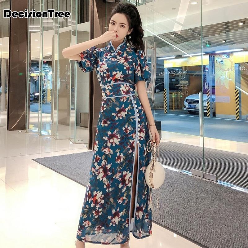 2020 Chinese Dress Cheongsam Qipao Vestido Chino Oriental Dress Cheongsam Lingerie Mandarin Collar Kimono Style High Split Qipao