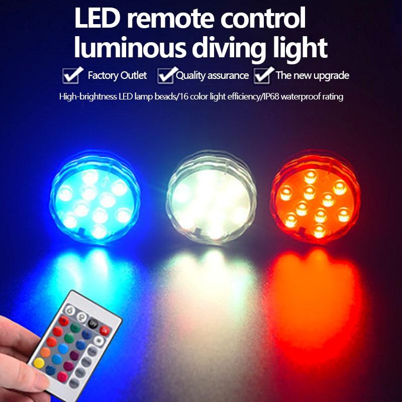 Luce sommergibile a LED alimentata a batteria IP65 RGB telecomando rotondo serbatoio di pesce luce impermeabile decorazione domestica festa di nozze Col